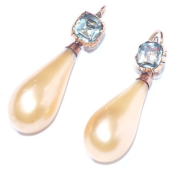 Georgian Glass Pearl Earrings