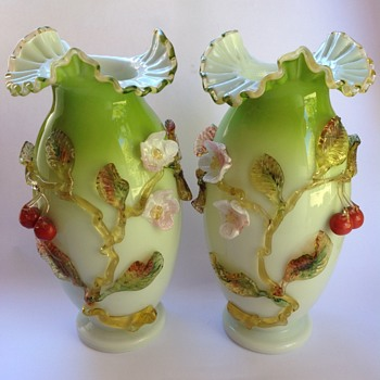 Pair Victorian cased glass vases with applied decoration
