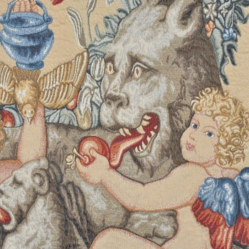 19th century French Tapestry: cherub and mythical animal - Rugs and Textiles