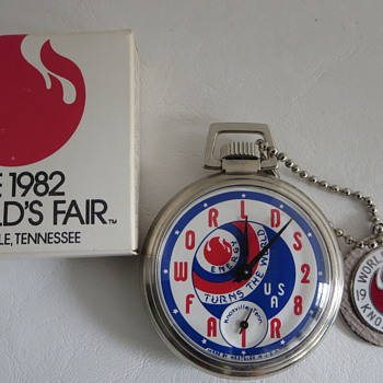 1982 Knoxville, TN. Worlds Fair Commemorative Watch, Fob & Box