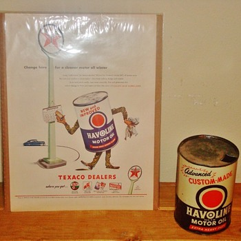 Texaco Havoline Motor Oil ad with 20-20W Oil Can - Petroliana