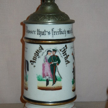 Imperial German Reservist's stein of August Birkel, 5th Squadron, 5th Bavarian Chevaulegers, who served 1888-1891. - Breweriana