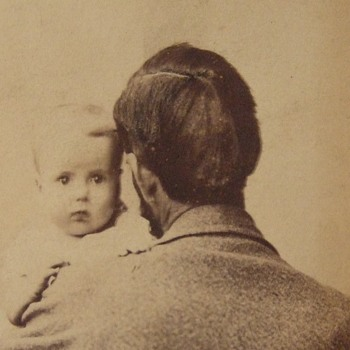 Father holds baby in first photograph cdv - Photographs