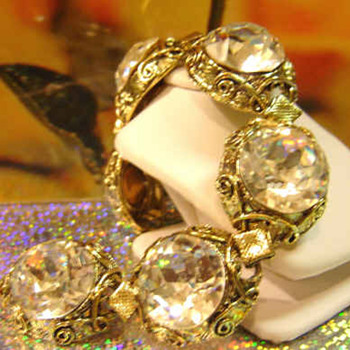 Estate Juliana Bracelet Just beautiful fire and light stones - Costume Jewelry