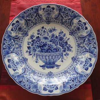 Large Delft blue porcelain plate  - Art Pottery