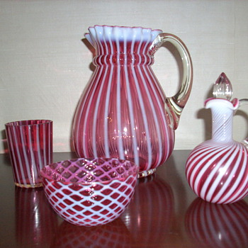 straight rib cranberry glass - Glassware