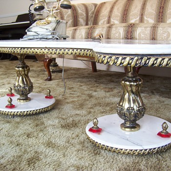 "Italian Marble ""S"" Shaped Coffee Table w/ Gold Inlay - Furniture"