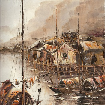 Oil Painting of what I call an oriental fishing village