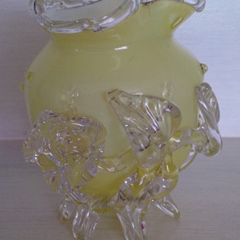 Victorian yellow cased glass vase with applied flower