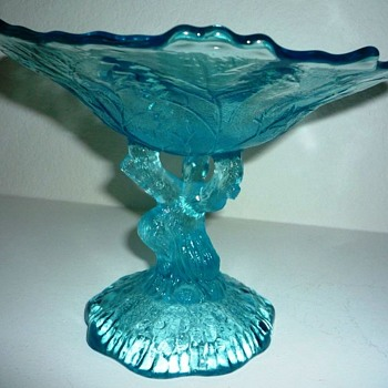 Who made it? Ice Blue Oak Tree Trunk Glass Compote