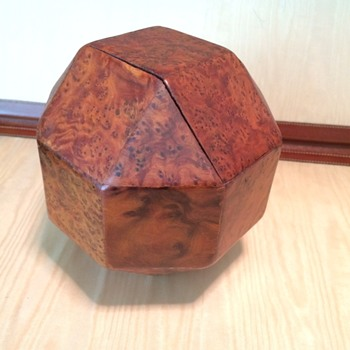 FRENCH DODECAHEDRON Burl Wood Decorative Box 1940s