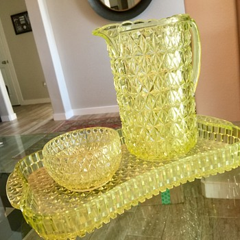 Cut glass pitcher, bowl and tray