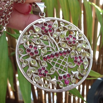 Silver Peridot and Garnet Pendant. - Sterling Silver