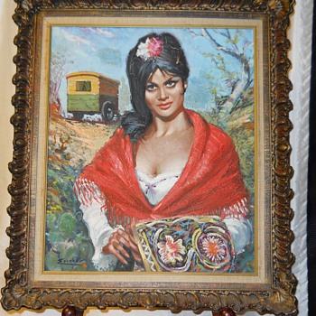 "Gypsy Woman,Oil on Canvas, ""ESCOBAL""Circa 1940-50 - Visual Art"