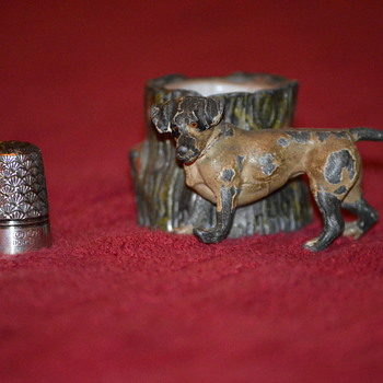 Antique sterling thimble holder