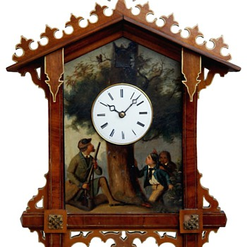 Bahnhäusle Cuckoo clock with oil painting C.1860 - Clocks