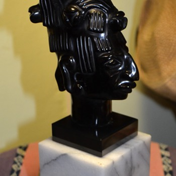 Beautiful Carved Obsidian Bust of a Mayan or Aztec Priest [?]