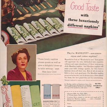 1950 Masslinn Napkins Advertisement - Advertising