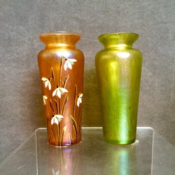 Kralik Peach & Green Pair Oils Spot Vases
