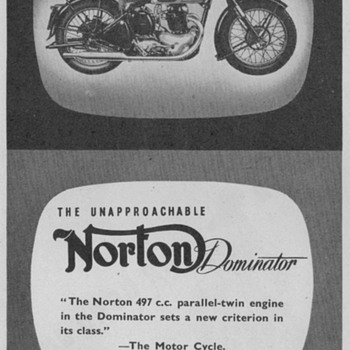 1950 - Norton Motorcycle Advertisement - Advertising