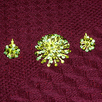 Two-tone Green Rhinestone Brooch and Earrings