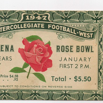 1947 Rose Bowl Ticket Stub - Football