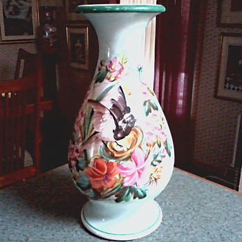 Beautiful Hand Painted Vase / Nesting Bird and Floral Motif /Unknown Maker and Age - Pottery