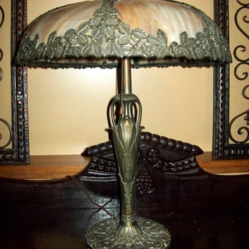 Art Nouveau Slag Glass Lamp