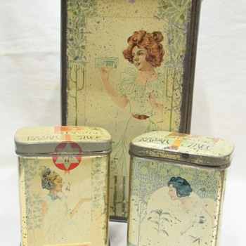 "Superb designed Victorian ""RAJAH"" Tea tins by artist Henri Meunier 1897"