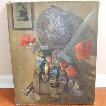 WW1 equipment and medals still life oil painting c. 1920s