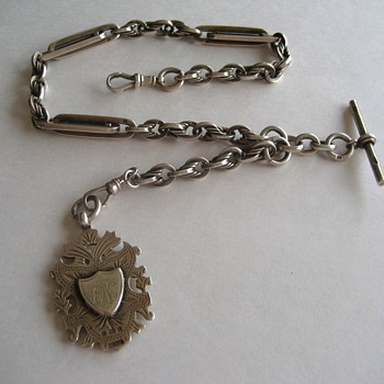 Antique Sterling Silver Albert Pocket Watch Chain And Fob