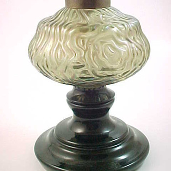 Bohemian Art Glass Oil Lamp with Beauty and Brains.... The Beauty is in the Brain Font! - Art Glass