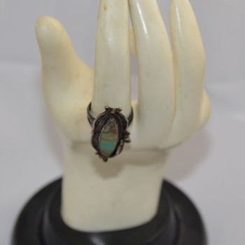 Vintage Old Pawn Ring Signed RC - Turquoise