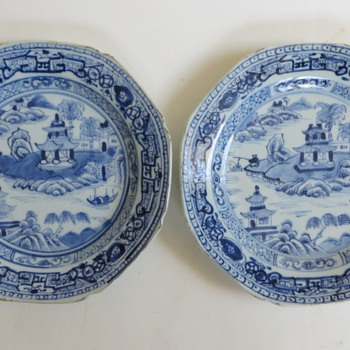2 Antique Handpainted Chinese Plates, Unmarked, Beautiful, Canton Porcelain?