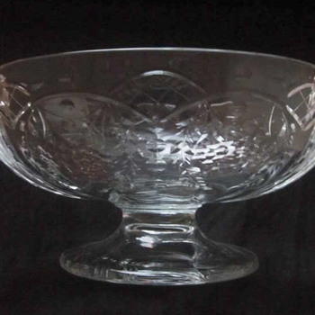 Fostoria Cut Baroque Center Bowl with Candle Holders - not etched