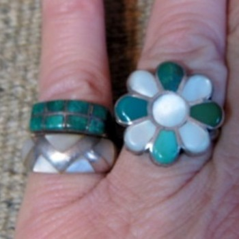 Zuni  flower ring and 2 channel rings