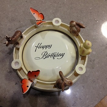 Happy Birthday Cake Plate + ring with Animals