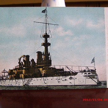 "Post Card of U.S. Battleship ""Indiana"" Number 1 - Military and Wartime"