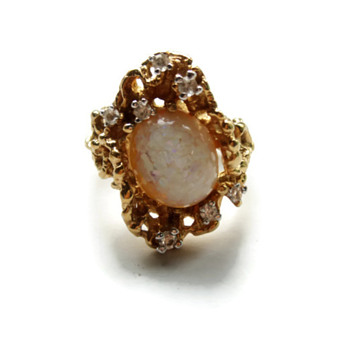 Vintage Panetta Sterling Opal and Rhinestone Ring - Costume Jewelry