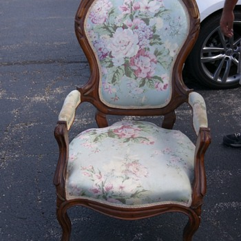 vintage Chair silky material with wood frame wheels