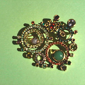 "Patricia Locke ""Somewhere in Time"" Brooch/Swarovski Crystals and Semi Precious Stones Set in 24kt Gold Plated Pewter/Circa 2005"
