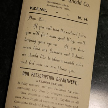 Essences, Extracts and Family Remedies - from Keene, NH - Advertising