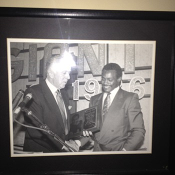 Walter Payton being presented the Giant Award by my grandfather - Football