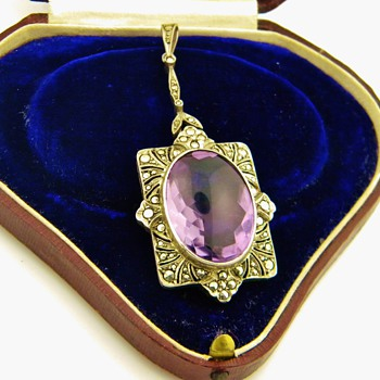 Antique Amethyst Marcasite Sterling Lavaliere Pendant Germany