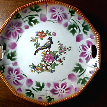 German Porzellanfabrik Kahla AG Serving Plate #207/Orange Luster Ware Border with Bird & Floral Design/ Circa 1925-32 - China and Dinnerware