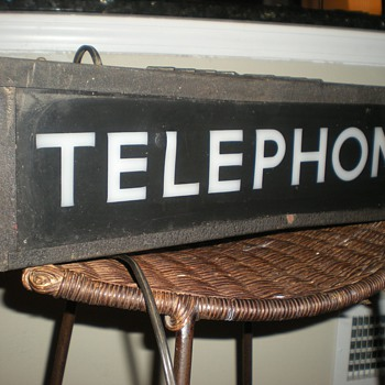 Antique Bell Phone Booth Illuminated Sign - Telephones
