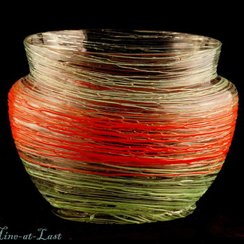 Czechoslovakia Red & Green Threaded Vase 1920's - 30's - Art Glass