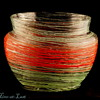 Czechoslovakia Red & Green Threaded Vase 1920's - 30's