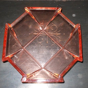 Pink Depression Glass Octagonal Bowl