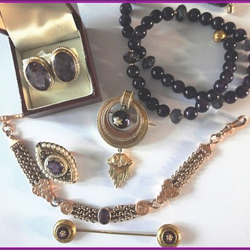 Antique Amethyst  Seed Pearl Jewelry Collection - Victorian Era